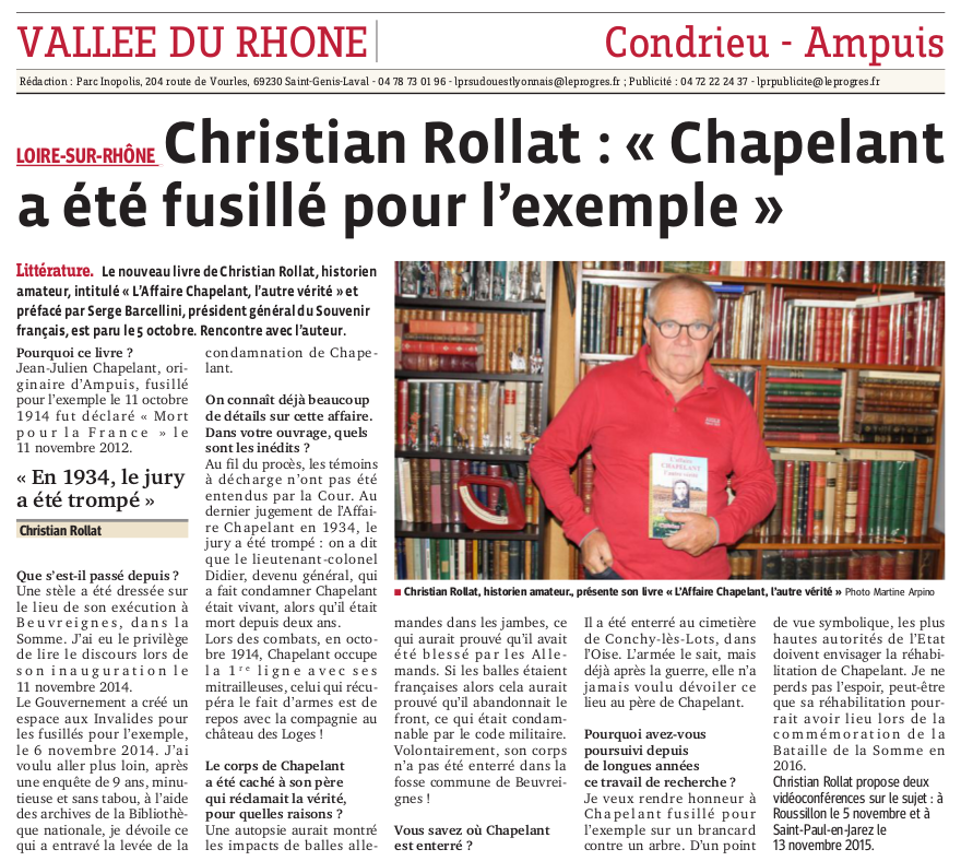 Article progres C.Rollat du 26-10-2015