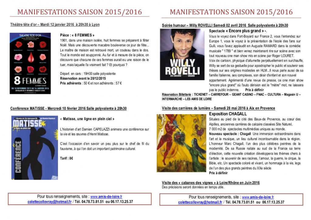 MANIFESTATIONS SAISON 2015 2016